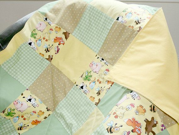 Patchwork Baby Quilt Animals Nursery Bedding by LittleCottonShop