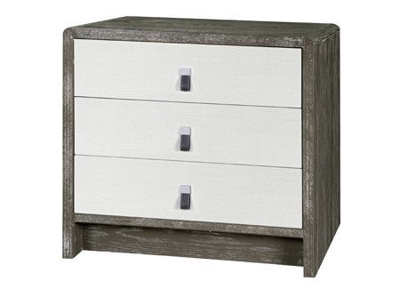 Niagara 3 Drawer Side Table In Grey Cerused Oak Design By Bungalow 5