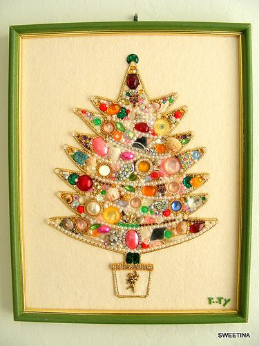 Fun Vintage Bling Tree on Felt | Flickr - Photo Sharing!