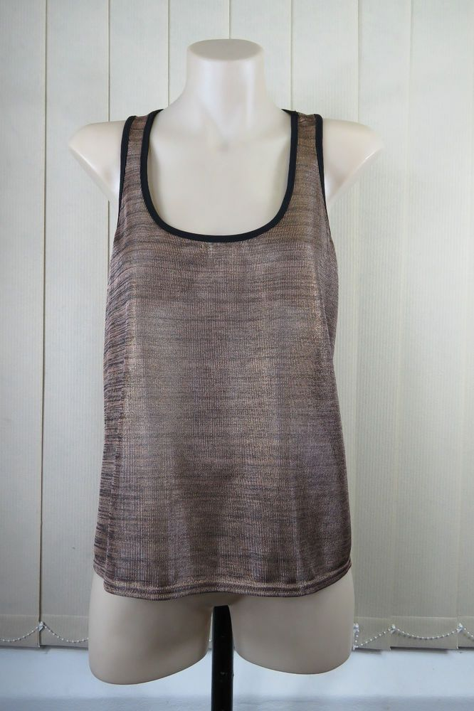 NWT Size S 10  Forcast Ladies Top Singlet Gold Black Shimmer Knit Cocktail Style #Forcast #TankCami #EveningOccasion