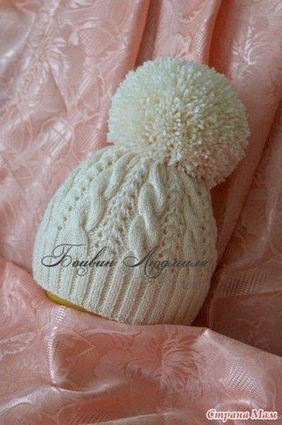 Двойная шапочка с помпоном (Вязание спицами)   Журнал Вдохновение Рукодельницы