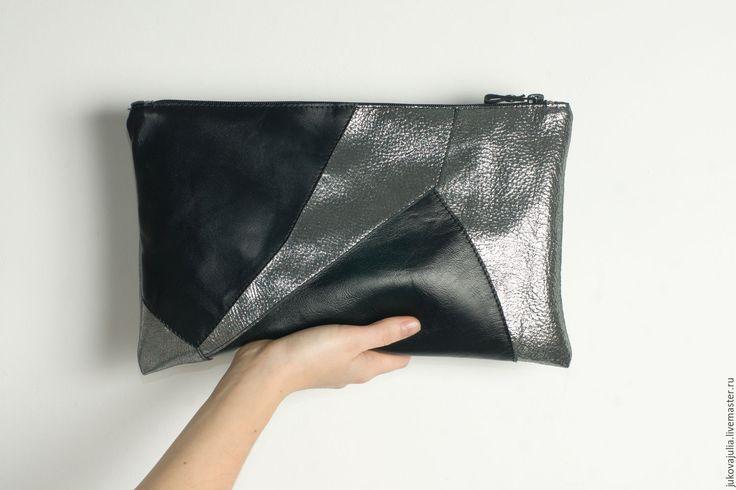 Купить Клатч геометрический серебро с черным из натуральной кожи - серебряный, клатч, серебрянный клатч