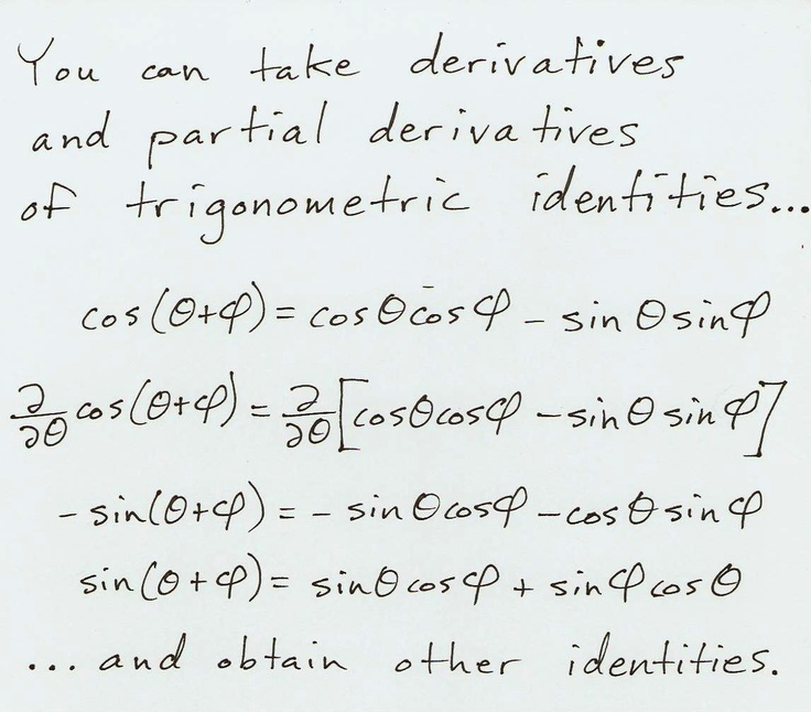 You can take derivatives and partial derivatives of trigonometric identities to obtain other identities.