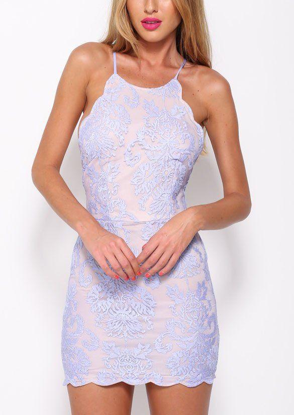 Lila Halter Backless Mauve Lace Bodycon Dress - Crystalline