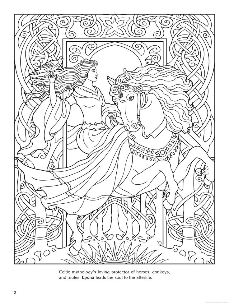 84 best coloring pages to print - goddess images on pinterest ... - Art Nouveau Unicorn Coloring Pages