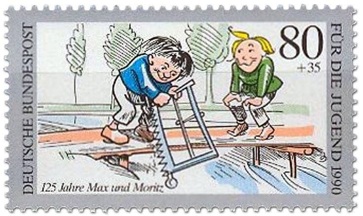 Brücke Ansägen Max Moritz, Briefmarke 1990