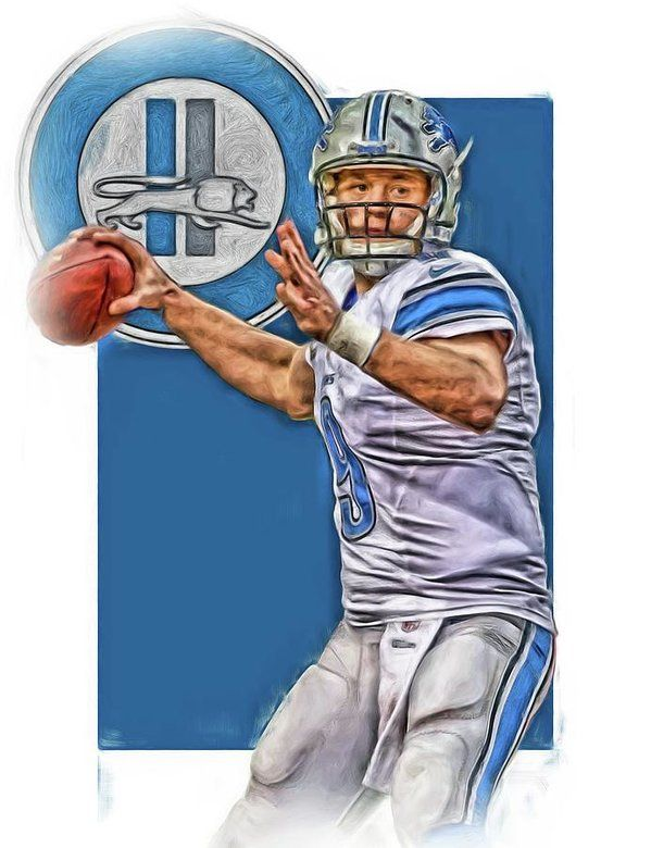 Matthew Stafford Print featuring the mixed media Matthew Stafford Detroit Lions Oil Art 2 by Joe Hamilton