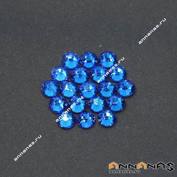 Клеевые стразы цвет Блю Кюрасао  Размеры: ss8, ss20, ss30