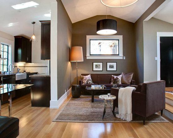 brown wall color woodcliff lake 980 by benjamin moore contemporary family room urrutia design grey walls furniture