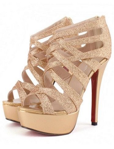 Gold Strappy High Heel Sandals - http://www.luulla.com/product/407810/gold-strappy-high-heel-sandals