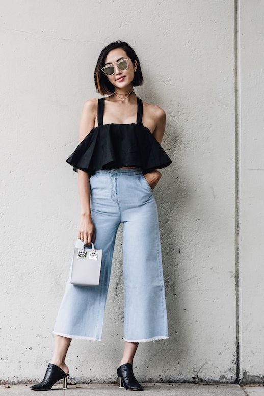 Photos via: The Chriselle Factor In order to wear crop tops without feeling too exposed, play with your proportions and lengths. Instead of wearing one with low cut jeans, opt for high waisted jeans t