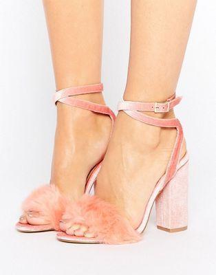 Truffle Collection - Sandali rosa in velluto con tacco e pelliccia