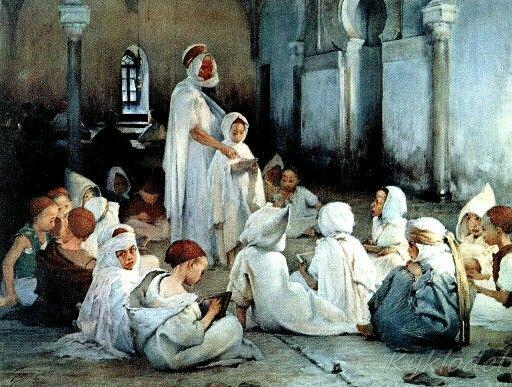 Algérie - Peintre Français Henri Jules Jean Geoffroy (1853-1924),huile sur toile, Titre : Leçon de Coran dans une école Arabe à Tlemcen