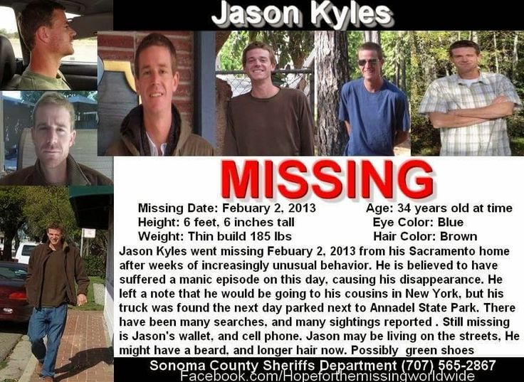 Missing Persons of America: Jason Kyles; disappeared from Annadel State Park and is critically missing