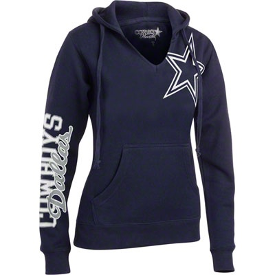 Dallas Cowboys Women's Navy Jersey Notch Halle Hooded Sweatshirt