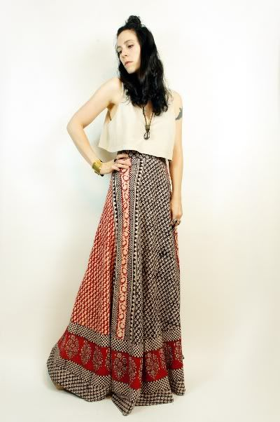 1970s Vintage Indian Wrap Around Skirts Red Festival Vtg