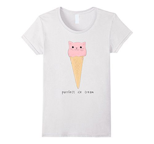 Women's cat ice cream t-shirt Small White Mari's stuff #cat #icecream #love #cats #catcream #cute #funny #gift #tshirt #shirt #tee