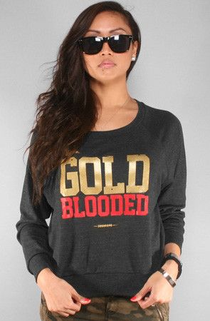 Adapt Advancers — GOLD BLOODED Women's Dark Charcoal Wide-Neck Pullover  49ers women's
