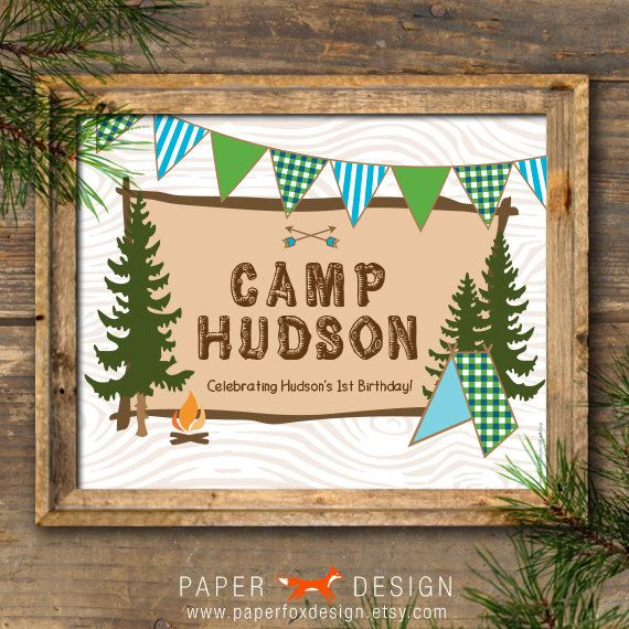 Camp Theme Poster or Sign - Birthday Party Welcome - DIY Printable - Rustic