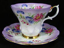 ROYAL ALBERT PURPLE FLORAL BOUQUET TEA CUP AND SAUCER
