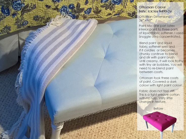 Blue Ottoman Painted Upholstery Fabric How To Paint