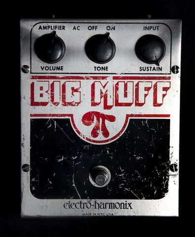 EHX.com | Big Muff Pi - Distortion/Sustainer | Electro-Harmonix. The pedal used for its copious and endless amounts of fuzzy sustain. Inexpensive and very easy to find, BUY THIS PEDAL.