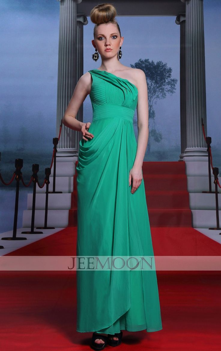 One Shoulder A-line Ankle-length Green Chiffon Formal/Evening Dress