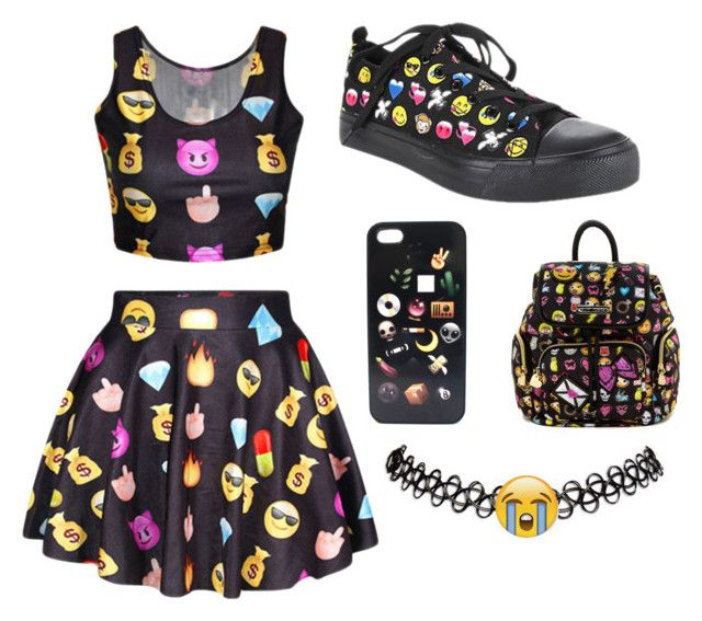 """Emoji queen "" by lilrose2112 ❤ liked on Polyvore featuring Betsey Johnson and Wet Seal"