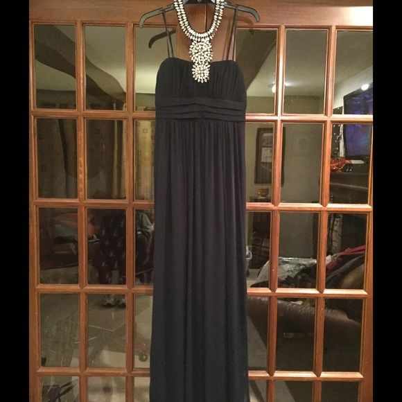 Midnight blue prom dress. I won Prom Queen Midnight navy blue strapless floor length dress for prom. Beautiful attached neck piece. Roomy and comfortable. Worm once. I won prom queen in this dress maybe the magic could rub off on you. Size 9 City Triangles Dresses