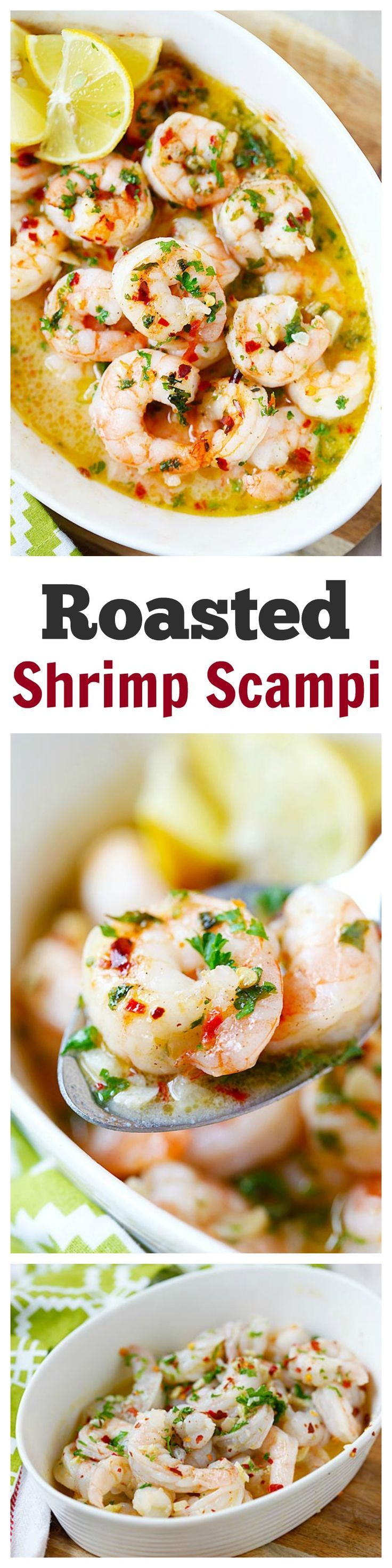 Roasted Shrimp Scampi – the easiest and BEST roasted shrimp scampi ever. 5 mins to prep, 5 mins in the oven and dinner is ready for the entire family   http://rasamalaysia.com