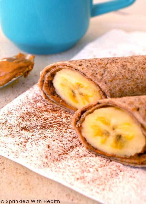 SPICED PEANUT BUTTER AND BANANA ROLL-UP Spread all natural nut butter on a whole grain tortilla, and place a peeled banana at one edge of it. Sprinkle with cinnamon, then roll it up for a nutritious and portable meal.