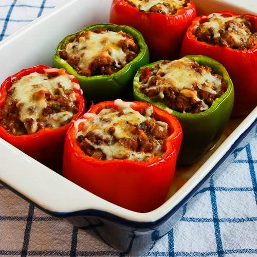 Phase One Stuffed Peppers Recipe with Turkey Italian Sausage, Ground Beef, and Mozzarella [from Kalyn's Kitchen] #LowCarb  #GlutenFree  #SouthBeachDiet