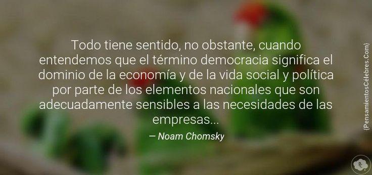 Todo tiene sentido, no obstante, cuando entendemos que el término democracia significa el dominio de la economía y de la vida social y política por parte de los elementos nacionales que son adecuadamente sensibles a las necesidades de las empresas...