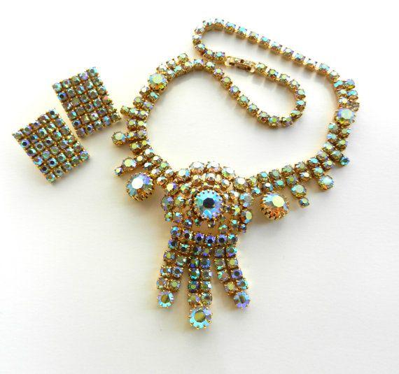 Vintage Aurora Borealis Rhinestone Necklace & by RAKcreations