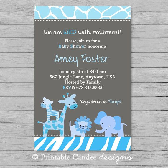 Blue and Grey Safari Baby Shower Invitation by printablecandee, $10.00