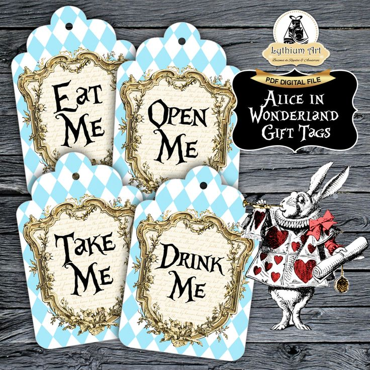 Alice in Wonderland Gift Tags - Alice in Wonderland Printable Tags - Drink Me - Eat Me - Take Me - Open Me - Alice in Wonderland Decor de LythiumArt en Etsy
