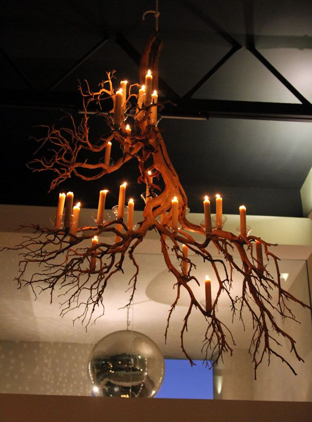 We Hung Two 6 Chandeliers Made Of Dozens Manzanita Branches Above The Dining Room