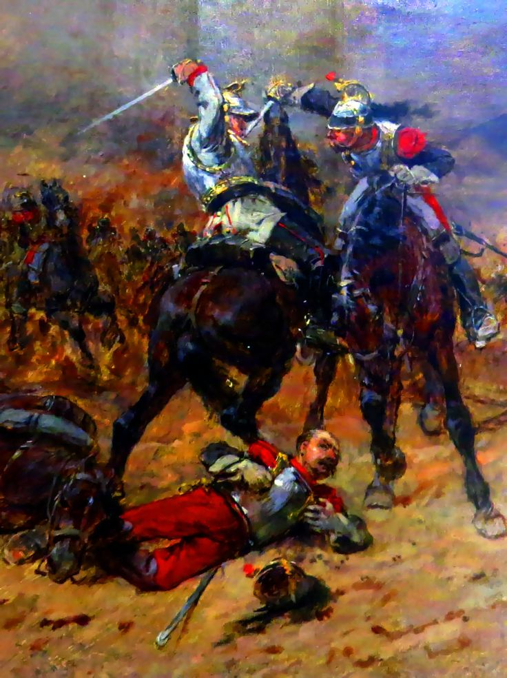 Melee combat between French and Prussian cuirassiers