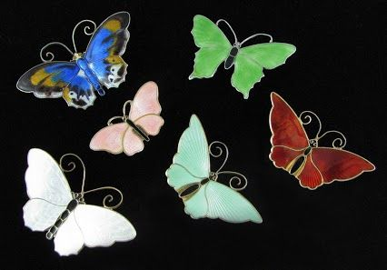 Vintage enamel butterfly brooches