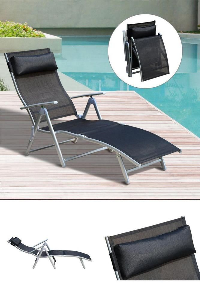 Reclining Folding Sun Lounger Outdoor Pool Hotel Camping Steamer Chair Pillow