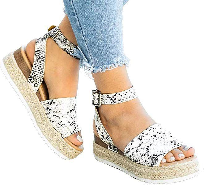 Ymost Womens Wedges Sandal Open Toe Ankle Strap Trendy Espadrille Platform Sandals Flats