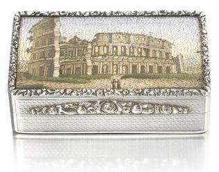 George IV micromosaic and silver snuff box Rome Coliseum Colosseum John Linnit London 19th century London Bonhams auction fine silver and gold boxes sale Steppes Hill Farm Antiques antique collectibles browse online for sale to buy UK