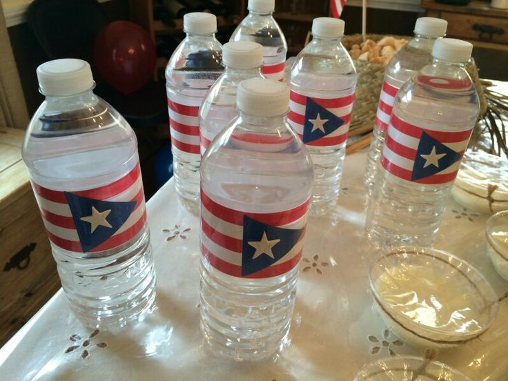 Puerto rico flag water bottles my jibarita party for Acanthus decoration puerto rico