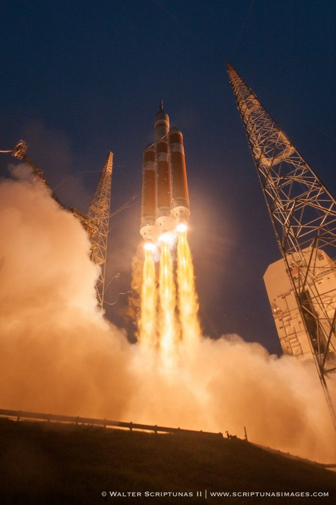 The United Launch Alliance Delta 4-Heavy rocket lifts off with NASA's Orion ship on its inaugural space flight test at 7:05 a.m. EST Dec. 5 from Cape Canaveral Air Force Station's Complex 37.