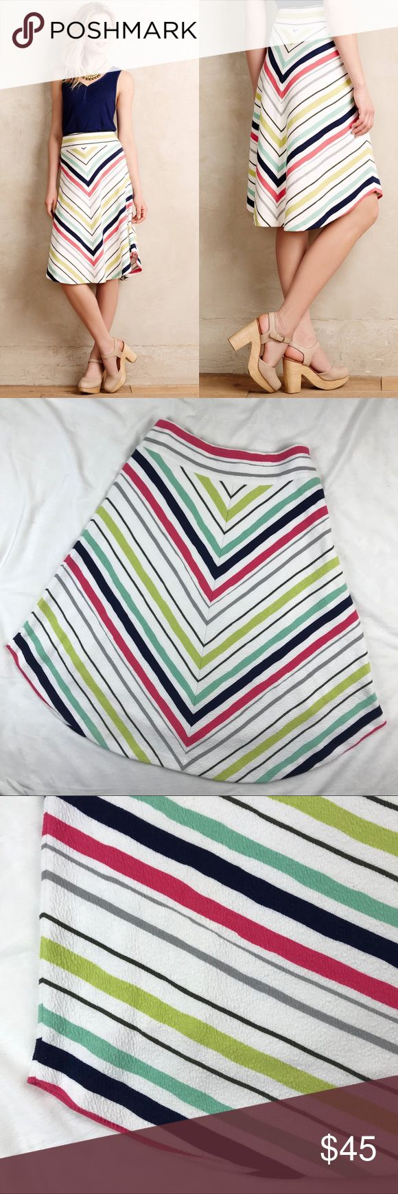 """ANTHROPOLOGIE Maeve Springstripe Skirt ANTHROPOLOGIE Maeve Springstripe Skirt  Textured fabric with colorful stripes. Side concealed zip. Fully lined.   SHELL: 70% cotton 30% spandex LINING: 97% polyester 3% spandex   Length 28"""" down the center, waist 15"""" Anthropologie Skirts Midi"""