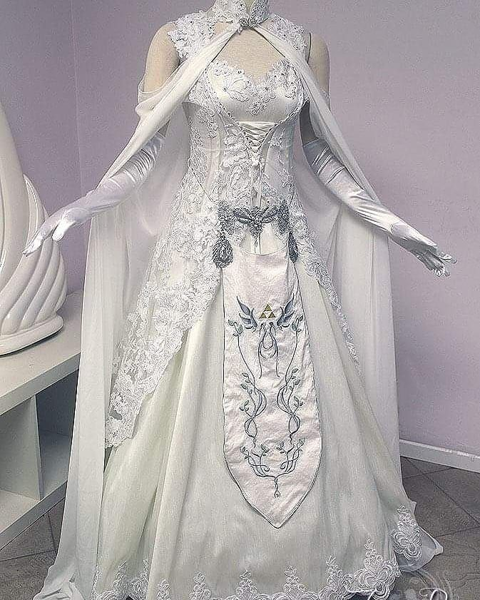 Any Gamers Check Out This Princess Zelda Wedding Dress Engaged Follow Imengagednowwhat For Wedding Planni Fantasy Gowns Fantasy Dress Elven Dress