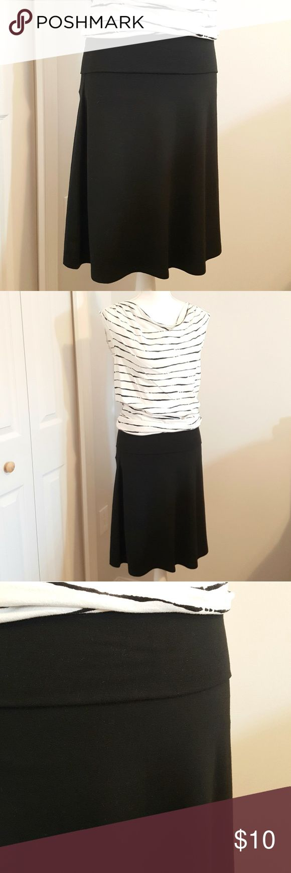 Old Navy Black Jersey Knit Fold Over Skirt - Small Super soft jersey knit skirt with fold over waistband. Great for travel! Material is 47% Polyester, 47% Rayon, 6% Spandex. Old Navy Skirts