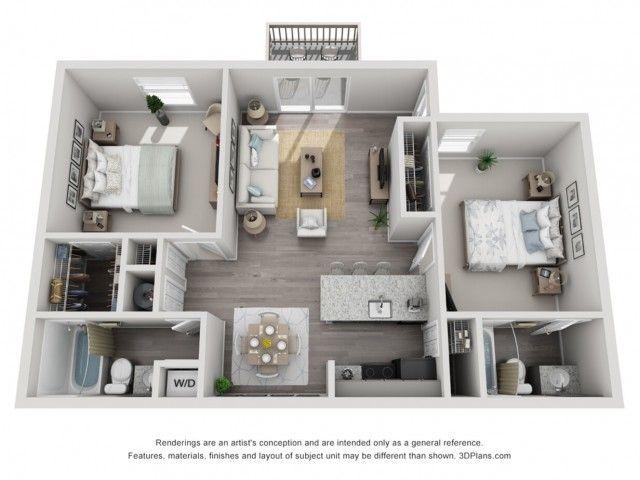 Leclare 2 Bed 2 Bath Diamond 810 Sq Ft Apartment Blueprints Apartment Floor Plans Apartment Layout