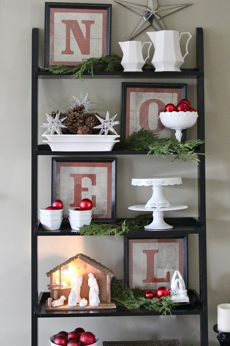 Christmas Home Tour 2014 - Love the framed NOEL letter idea.