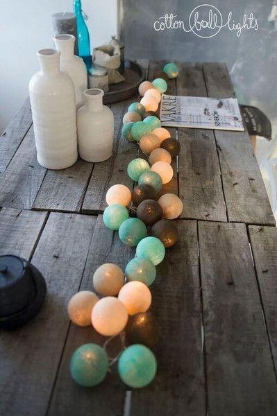 Romantische Lichterkette aus Baumwolle für laue Sommerabende, Garten, Balkon, Dekoration / string of lights, garden decoration made by Qule - cotton balls via DaWanda.com